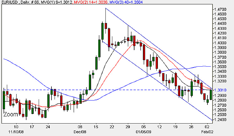 Euro vs Dollar Daily Candle Chart - 4th February 2009